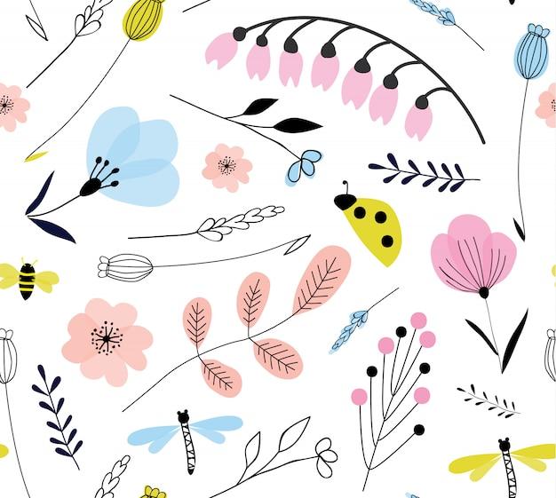 Teste padrão floral vetor