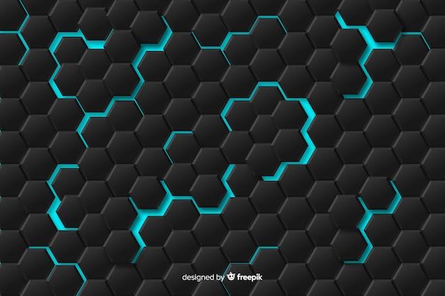 Teste padrão geométrico abstrato com luzes azuis