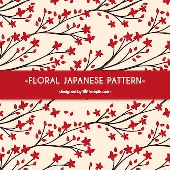 Teste padrão japonês floral vermelho