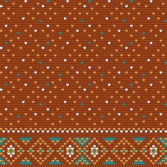 Teste padrão marrom de confecção de malhas para a camisola feia