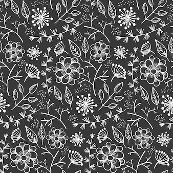 Teste padrão monocromático com contorno flores e ervas
