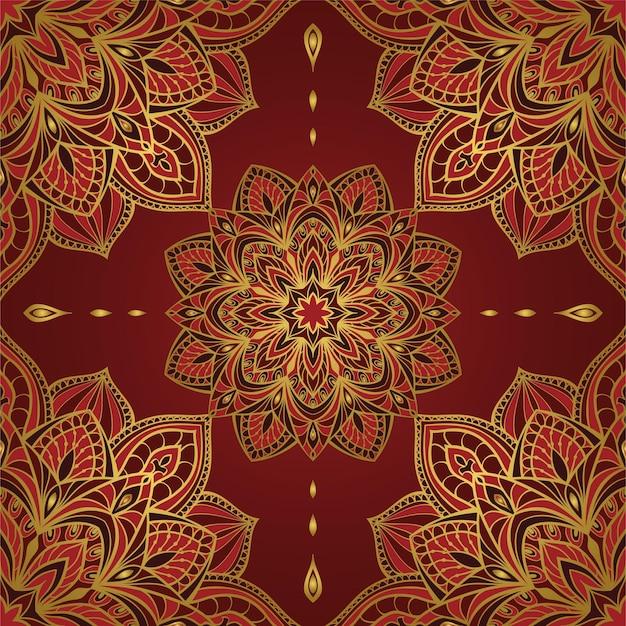 Teste padrão oriental vermelho abstrato com mandalas.