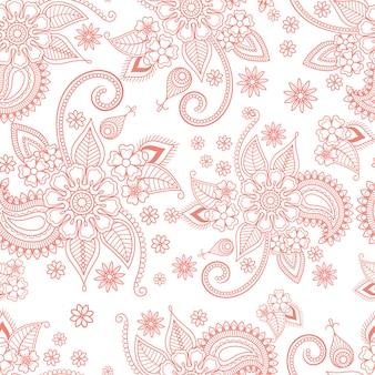 Teste padrão ornamentado floral cor-de-rosa no fundo branco