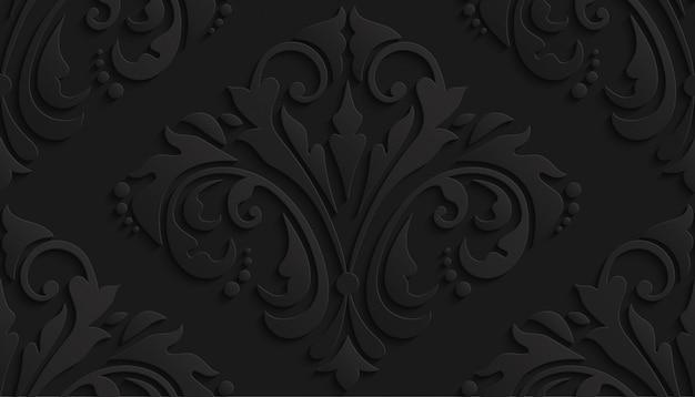 Teste padrão preto do damasco 3d luxuoso para o papel de parede