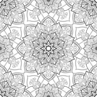 Teste padrão preto e branco com mandalas.