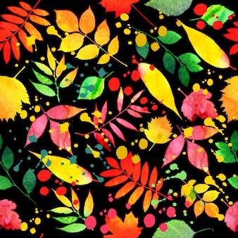 Teste padrão pseamless de outono brilhante de aquarela
