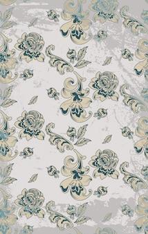 Teste padrão retro do damasco das rosas do vintage