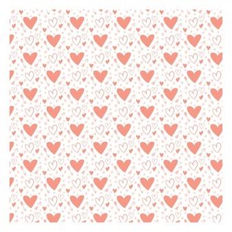 Teste padrão romântico com corações desenhados mão