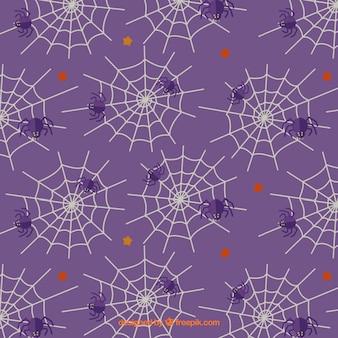 Teste padrão roxo com teias de aranha e aranhas
