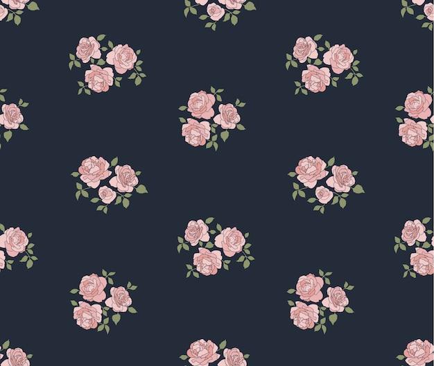 Teste padrão rústico desenhado de mão com rosas