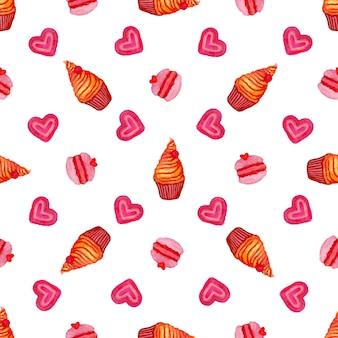 Teste padrão sem costura de aquarela com cupcake, macarrão e corações de aguarela pintados à mão. aguarela desenhada mão do vetor
