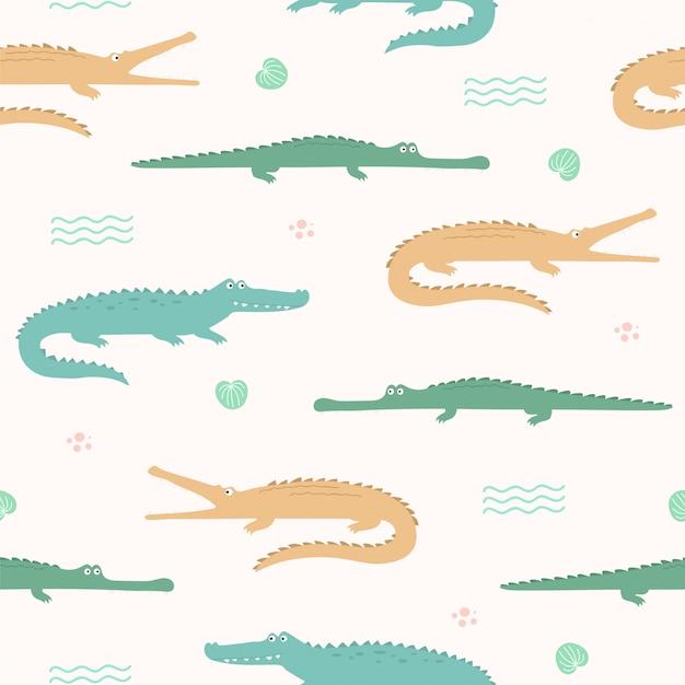 Teste padrão sem emenda animal bonito do crocodilo para o papel de parede