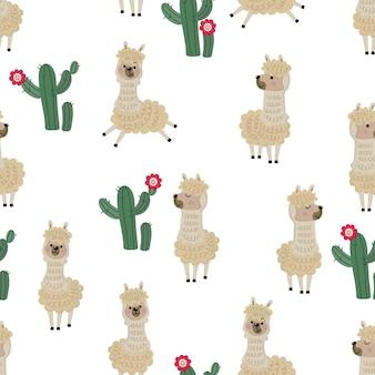 Teste padrão sem emenda bonito da alpaca e do cacto. Vetor Premium