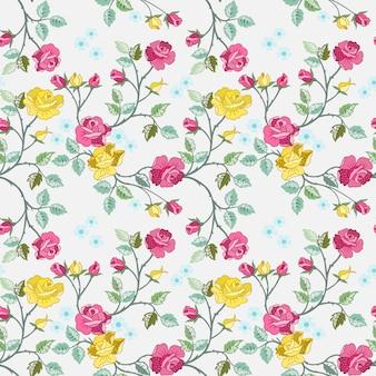 Teste padrão sem emenda com as rosas vermelhas e amarelas para o papel de parede de matéria têxtil da tela.