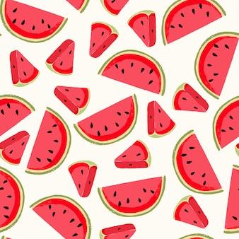Teste padrão sem emenda com melancia fresca. fundo bonito