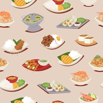 Teste padrão sem emenda da comida tailandesa com ilustração da culinária de tailândia, tom yam goong, comida asiática, pratos picantes tailandeses.