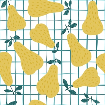 Teste padrão sem emenda da pera amarela doce no fundo da listra.
