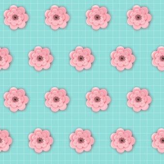 Teste padrão sem emenda das flores de corte de papel. fundo de origami floral primavera. textura de tecido de design gráfico botânico para papel de parede, embrulho. ilustração vetorial