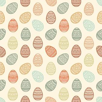 Teste padrão sem emenda de ícones lisos do ovo da páscoa colorido pintados no estilo tradicional.