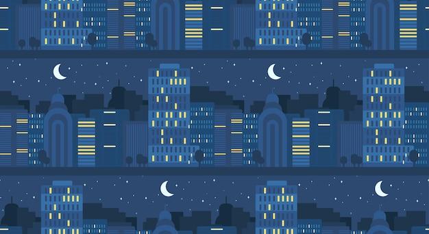 Teste padrão sem emenda do conceito de vida da cidade à noite. rua da cidade. banner de paisagem urbana com edifícios, árvores, loja, lojas, céu e sol. vetor