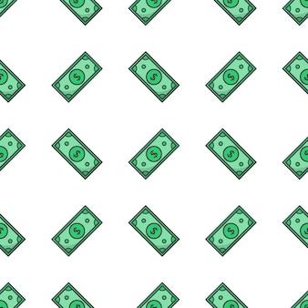 Teste padrão sem emenda do dinheiro. ilustração do tema do papel moeda