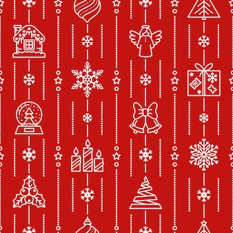 Teste padrão sem emenda do natal, ícone do inverno, xmas, fundo vermelho do ano novo, envoltório de papel.