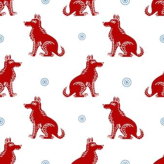 Teste padrão sem emenda do vetor com as silhuetas do cão no fundo branco. pode ser usado para um cartão, um cartaz, uma bandeira, empacotando para o 2018 ano do cachorro de terra.