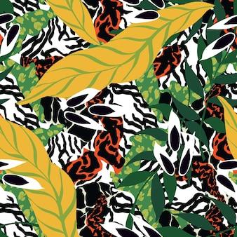 Teste padrão sem emenda do vetor da chita brilhante. fundo de folhas e tigre selvagem. safari print. leopardo e ilustração de tecido heterogéneo de folhas.