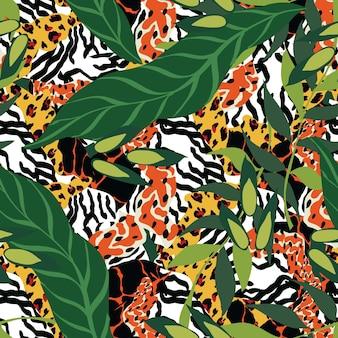 Teste padrão sem emenda do vetor da chita dos desenhos animados. ilustração animal jaguar e palm. fundo de tecido. impressão brilhante do papel de parede do tigre e das folhas.