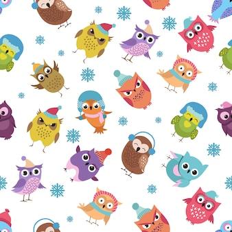 Teste padrão sem emenda do vetor engraçado das corujas do inverno. feriado de natal
