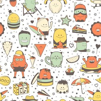 Teste padrão sem emenda engraçado com monstro dos desenhos animados, personagem. mão desenhada personagens coloridos, criaturas incomuns
