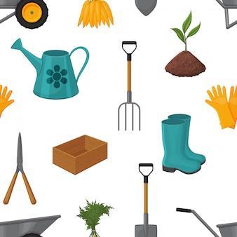 Teste padrão sem emenda feito das ferramentas de jardim em um fundo branco. estilo dos desenhos animados. fundo branco. objeto para embalagens, anúncios, menu. ilustração.