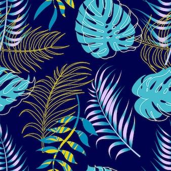 Teste padrão sem emenda floral abstrato com folhas.