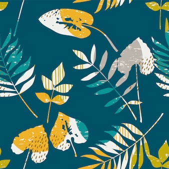 Teste padrão sem emenda floral abstrato com texturas desenhadas mão na moda.