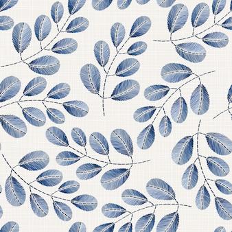 Teste padrão sem emenda floral bordado na textura de pano de linho