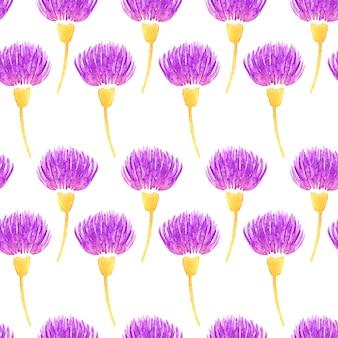 Teste padrão sem emenda floral do vetor da aguarela com flores violetas decorativas do cardo. primavera