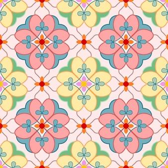 Teste padrão sem emenda floral dos elementos decorativos do vintage.