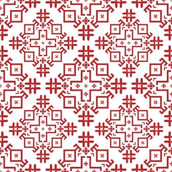 Teste padrão sem emenda geométrico vermelho e branco no estilo búlgaro.