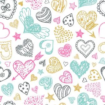 Teste padrão sem emenda heterogéneo com corações coloridos. ilustração do vetor.
