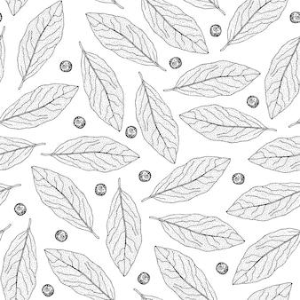 Teste padrão sem emenda mão desenhada com folhas de louro e pimenta da jamaica.