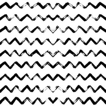 Teste padrão sem emenda mão desenhada com listras em zigue-zague.