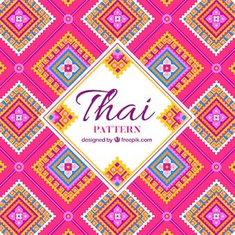 Teste padrão tailandês elegante com design plano