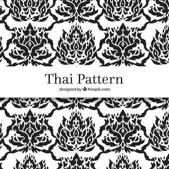 Teste padrão tailandês preto e branco com estilo elegante