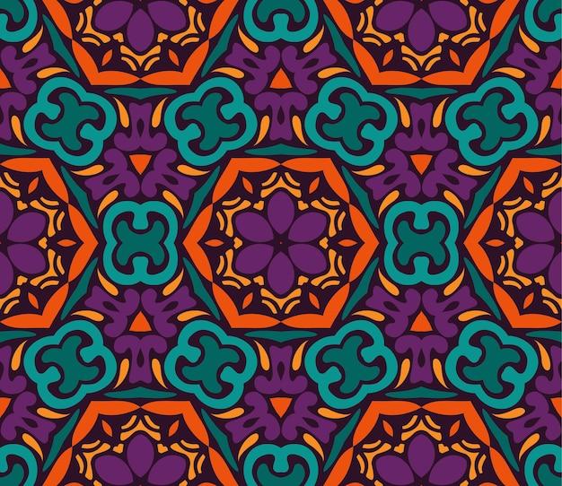 Teste padrão tribal étnico do vetor floral colorido festivo abstrato. desenho floral geométrico