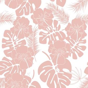 Teste padrão tropical sem costura com folhas e flores rosa de monstera no fundo branco