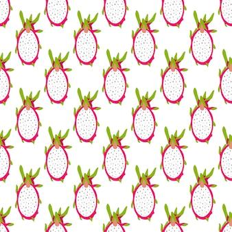 Teste padrão tropical sem emenda com fruta cortada brilhante do dragão.