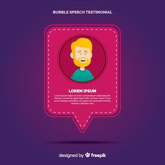 Testemunho com design de bolhas de discurso
