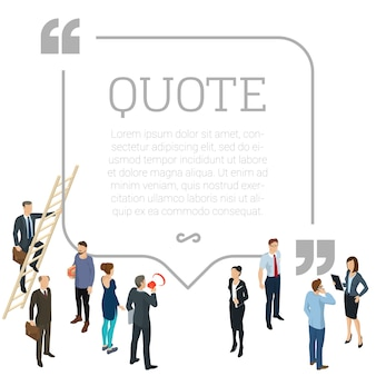 Testemunhos conceito de forma de citação redonda com jovens e empresários fazendo comentários em redes sociais design plano pessoas isométricas