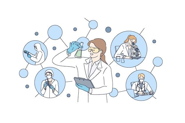 Testes de laboratório químico e ilustração do conceito de pesquisa