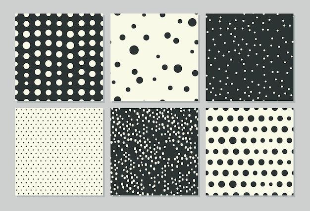 Testes padrões abstratos sem costura com desenho de bolinhas.
